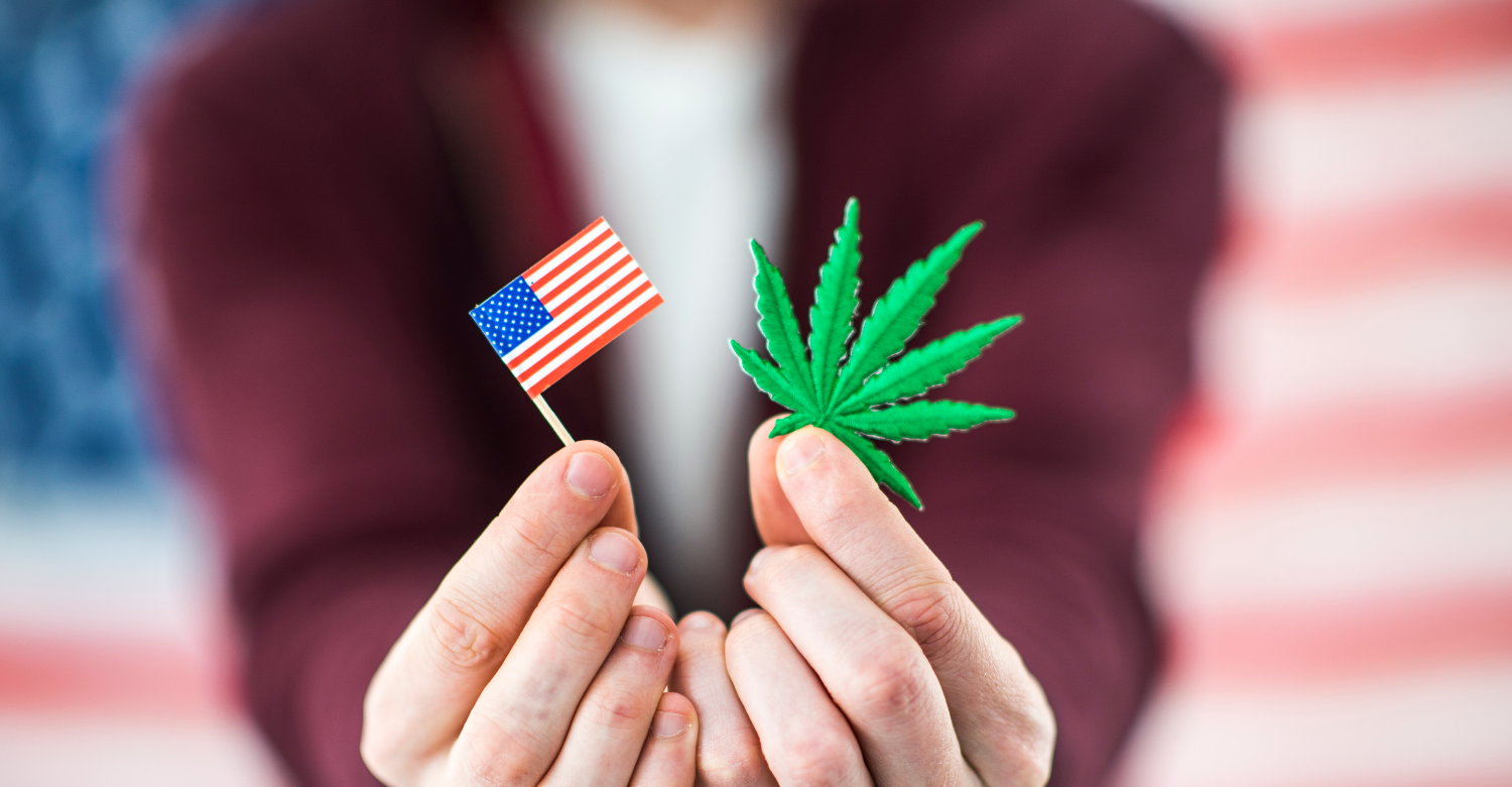 American Flag and Weed symbol in the hands of a woman in front of an American Flag