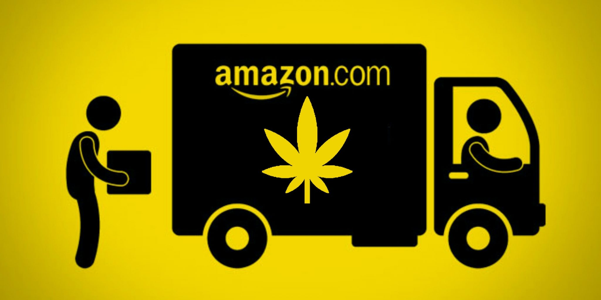 Amazon delivery truck with weed picture